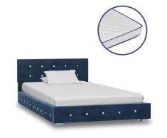 vidaXL Cama con colchón viscoelástico terciopelo azul 90x200 cm