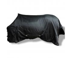 vidaXL Manta de Lana Doble Capa con Cinchas 125 cm (Negra)
