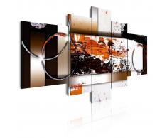 DEKOARTE Cuadro moderno en lienzo, abstracto en blanco, marrones y negro.