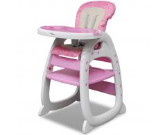 vidaXL Trona alta para bebé convertible 3-en-1, Rosa