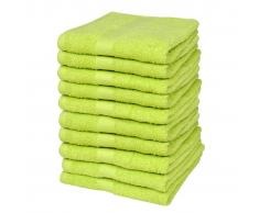 vidaXL Toallas de cortesía 10 uds algodón 500 gsm 30x50 verde manzana