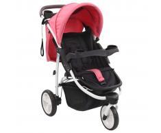 vidaXL Cochecito/Silla de paseo de 3 ruedas rosa y negro