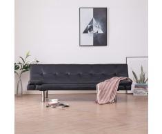 vidaXL Sofá cama con dos almohadas de cuero sintético marrón