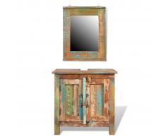 vidaXL Mueble de baño de madera reciclada con espejo