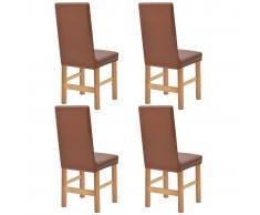 vidaXL Funda elástica para silla 4 unidades de ante marrón