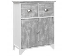 vidaXL Armario auxiliar madera de Paulownia gris y blanco 60x30x75 cm