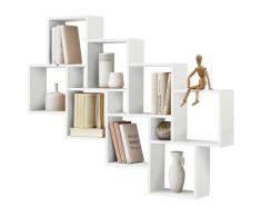 FMD Estantería de pared con 11 compartimentos blanca