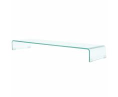 vidaXL Soporte para TV/Elevador monitor cristal claro 110x30x13 cm