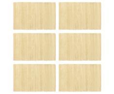 vidaXL Manteles individuales 6 uds Chindi liso algodón beige 30x45 cm