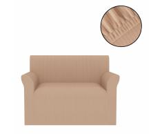 vidaXL Funda elástica para sofá beige franja ancha
