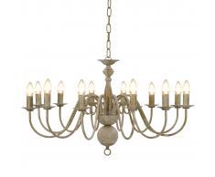 vidaXL Lámpara de araña blanco antiguo 12 bombillas E14