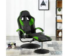 vidaXL Silla oficina reclinable con reposapiés cuero sintético verde