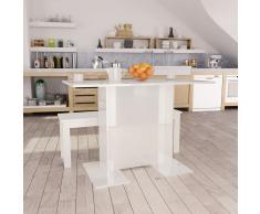 vidaXL Mesa de comedor de aglomerado blanco brillante 110x60x75 cm