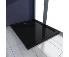 vidaXL Plato de ducha rectangular de ABS, color negro, 80 x 100 cm