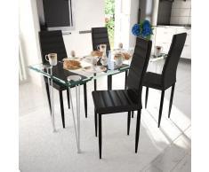 vidaXL 4 sillas negras comedor Slim Line mesa de vidrio transparente