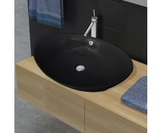 vidaXL Lavabo Oval de cerámica negra de lujo con desagüe, 59 x 38,5 cm