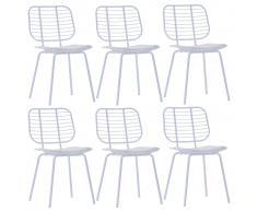 vidaXL Sillas de comedor asientos cuero sintético 6 uds acero blanco