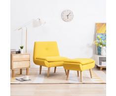vidaXL Butaca con reposapiés tapizada de tela amarilla