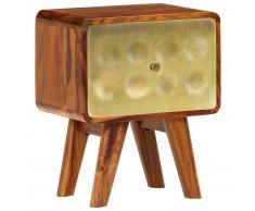 vidaXL Mesita de noche de madera maciza sheesham y dorados 49x40x30 cm