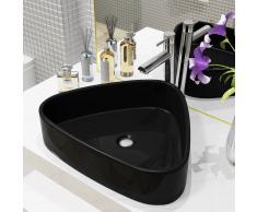 vidaXL Lavabo triangular de cerámica negro 50,5x41x12 cm