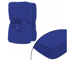 vidaXL Sábana ajustada 2 uds algodón 160 g/㎡ 180x200-200x220 cm azul