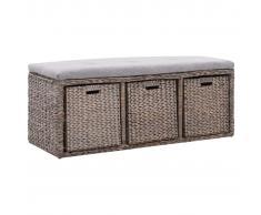 vidaXL Banco con 3 cestas hierba marina 105x40x42 cm gris