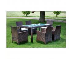 vidaXL Set de muebles jardín 13 piezas poli ratán marrón