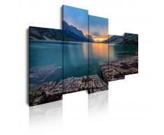 DEKOARTE Cuadro moderno en lienzo, naturaleza sol entre montañas y lago.
