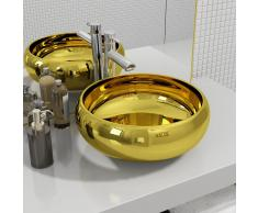 vidaXL Lavabo 40x15 cm cerámica dorado