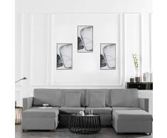 vidaXL Sofá cama extraíble de 4 plazas tela gris claro