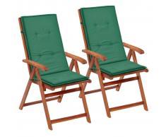 vidaXL Cojines para sillas de jardín 2 unidades verdes 120x50x3 cm