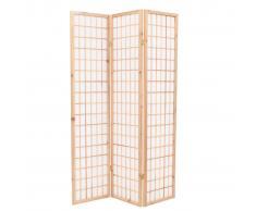 vidaXL Biombo plegable 3 paneles estilo japonés 120x170 cm natural