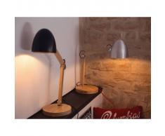 Beliani Lámpara de mesa, Iluminación de noche, Madera y aluminio, Plateado, V
