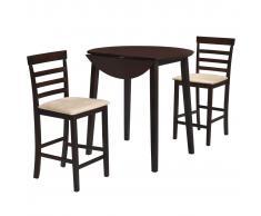 vidaXL Set de mesa y sillas de bar 3 pzas madera maciza marrón oscuro