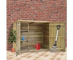 vidaXL Caseta herramientas jardín madera pino impregnada 135x60x123 cm