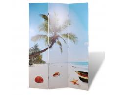 vidaXL Biombo con diseño de playa, 120 x 180 cm