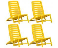 vidaXL Silla de playa plegable para niños plástico 4 unidades amarillo