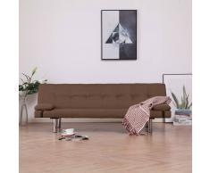 vidaXL Sofá cama con dos almohadas de poliéster marrón