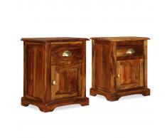 vidaXL Mesita de noche 2 unidades 40x30x50cm madera maciza de sheesham