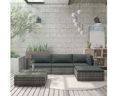 vidaXL Set de muebles de jardín 5 pzas y cojines ratán sintético gris