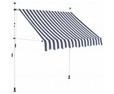 vidaXL Toldo manual retráctil 150 cm azul y blanco a rayas