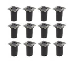 vidaXL Lámparas de suelo de jardín cuadradas 12 unidades