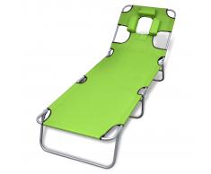 vidaXL Tumbona verde plegable con cojín para la cabeza y respaldo ajustable