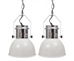 vidaXL Lámpara de techo altura ajustable moderna metal blanco 2 uds