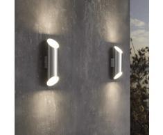 EGLO Lámpara LED de pared para jardín Agolada plateado 2x3,7W
