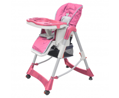 vidaXL Trona / Silla Con Bandeja Ajustable Para Bebés De Color Rosa