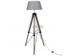 vidaXL Lámpara de pie ajustable de madera tipo trípode con pantalla gris