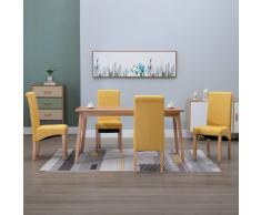 vidaXL Sillas de comedor 4 unidades de tela amarilla