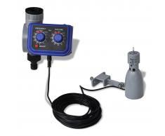 vidaXL Programador de riego automático con sensor de lluvia y una salida