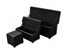 vidaXL Banco baúl de interior negro con taburete, 3 unidades